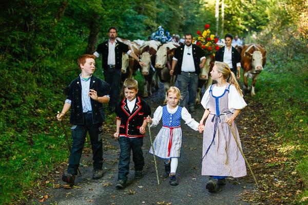 The children lead the procession.